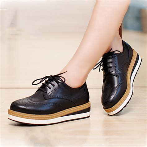 s platform oxford shoes new autumn winter genuine leather thick heel flat