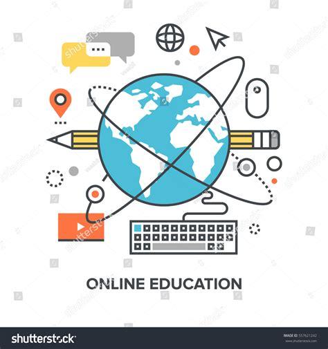 online education illustration flat design illustration vector illustration online education flat line stock