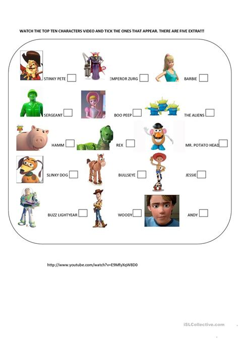 toy story printable activity sheets toy story characters worksheet free esl printable