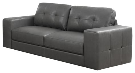 Transitional Leather Sofa Sofa Charcoal Gray Bonded Leather Transitional Sofas By Modern Home