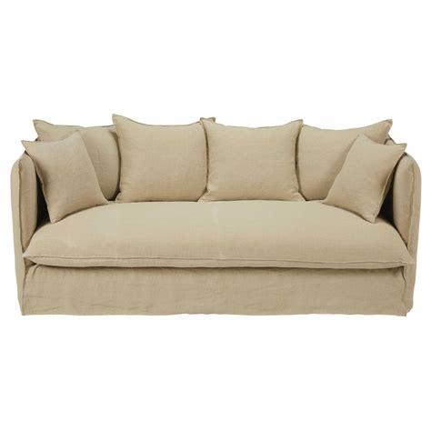 divano letto 4 posti divano letto 3 4 posti beige in lino lavato louvre