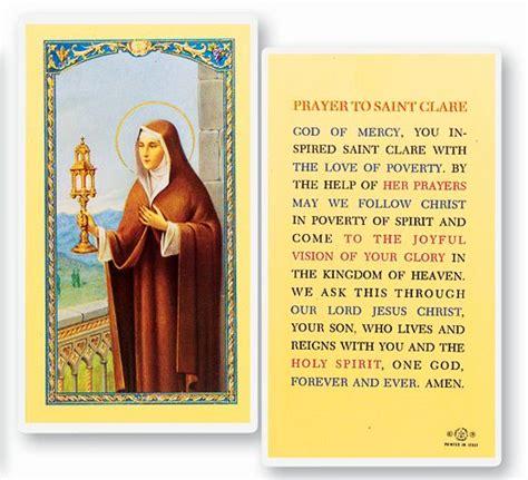 saint clare holy card