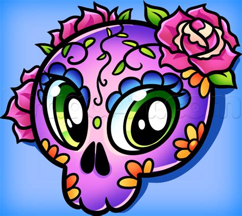 Day Of The Dead Drawings Easy by How To Draw Day Of The Dead Skull Step By Step Skulls