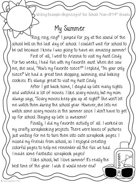 narrative writing my summer narrative writing school