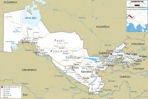 maps of detailed clear large road map of uzbekistan ezilon maps