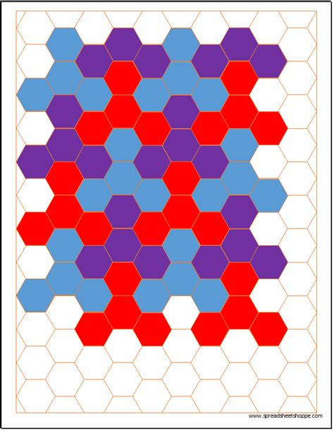 hexagonal graph paper template spreadsheetshoppe