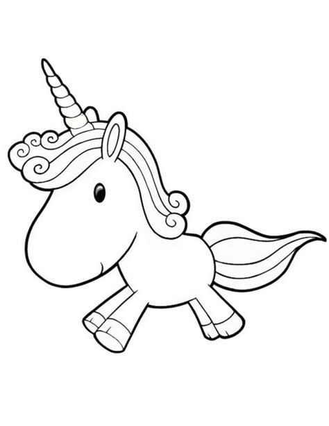 cute baby unicorn running  coloring page
