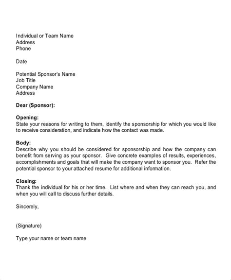 Sponsor Letter Template For Sports Sle Sports Sponsorship Letter 6 Documents In Pdf