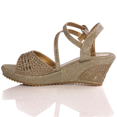gold sandals for wedding unze new benta wedge fashion wedding sandals gold ebay