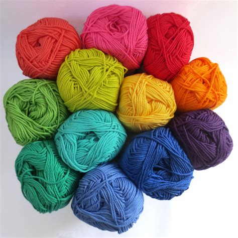 cotton knitting yarn mercerised cotton yarn in one each of 12 rainbow colours