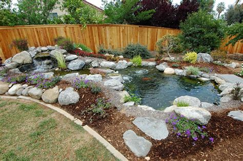 Backyard Pond Ideas Small How To Build Small Waterfalls Small Backyard Landscaping Ideas Pond Designs Comely Cool