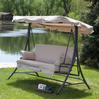 Deluxe Patio Swing Lounger With Canopy Costco Patio Swing With Canopy Menards Wooden Hanging 2 Person