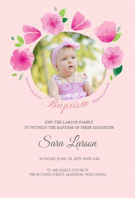 Girl Baptism & Christening Invitations (Free)   Greetings