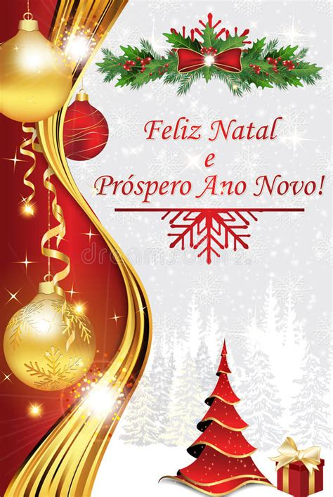 merry christmas  happy  year portuguese language stock image image
