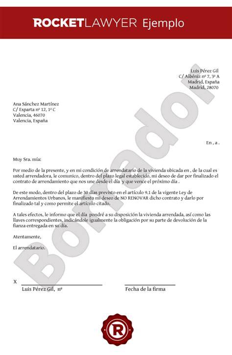 carta de preaviso de no renovacion contrato laboral por el trabajador modelo de carta de no renovaci 243 n del contrato de alquiler