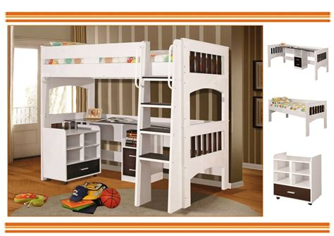 single bunk bed with desk miami loft bunk with single bed and desk