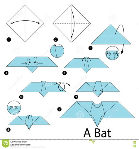 How To Make Bat With Paper - step by step how to make origami a bat stock