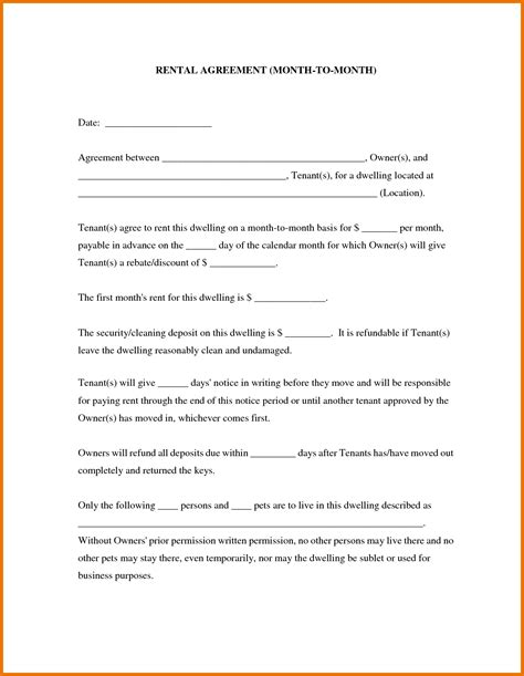 rental property agreement template 28 images free