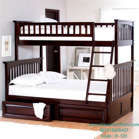 tempat tidur tingkat kayu jati model ranjang susun terbaru