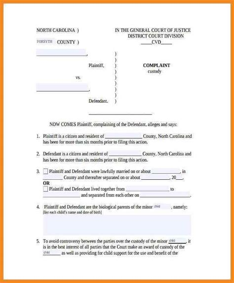 Child Template by Affidavit For Child Custody Exles Templates Resume