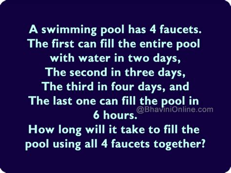 how long does it take to fill a bathtub how long will it take to fill the pool using all 4 faucets