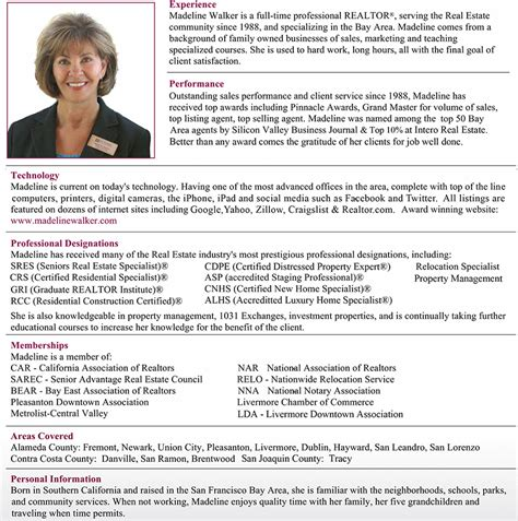 Real Estate Sales Resume Sles by Celebrating More Than 27 Years In Real Estate Madeline Walker