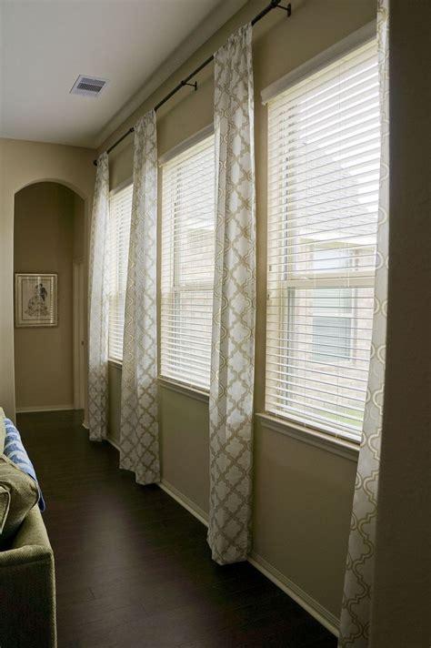 triple window curtains triple window treatment ideas living room pinterest