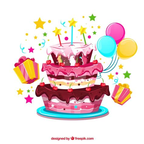 Birthday cake background with balloons and gifts vector free download