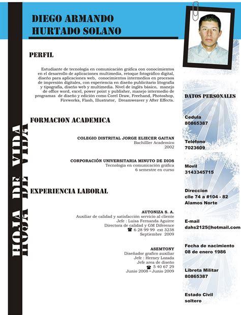 Modelo Curriculum Hoja De Vida Modelo Hoja De Vida Newhairstylesformen2014