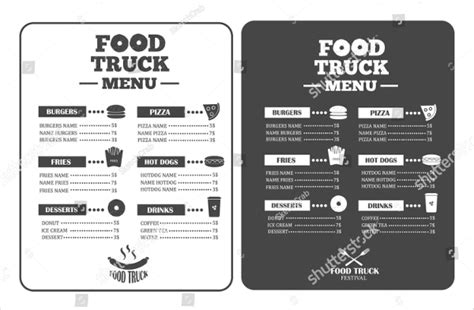 food truck menu template 21 food truck menu templates free premium