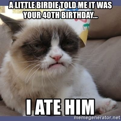 40th Birthday Meme - a little birdie told me it was your 40th birthday i ate