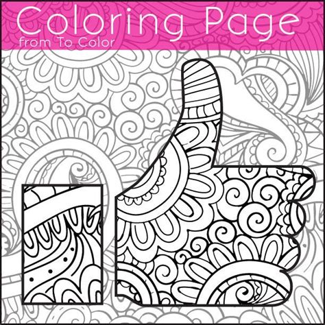 grown up coloring pages mandala thumbs up coloring page for grown ups instant