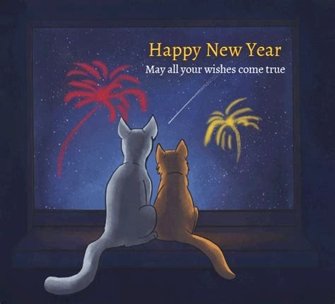 happy  year firework cats  happy  year ecards