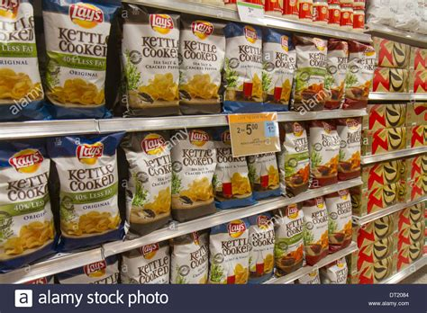 Shelf Of Potato Chips by Naples Florida Publix Grocery Store Supermarket Food Sale