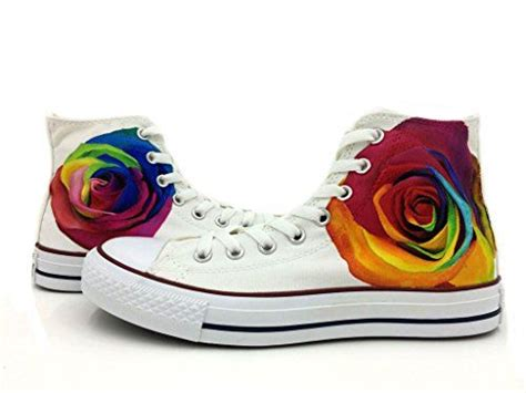 Converse Rainbow painted rainbow roses all converse shoes white