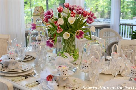 Beautiful Table Settings Easter Table Setting With Tulip Centerpiece And Pottery Barn Bunny Cup Cake Stands