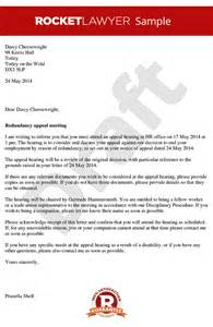 Redundancy Appeal Letter Exle Invitation To A Redundancy Appeal Meeting Redundancy Appeal Notice