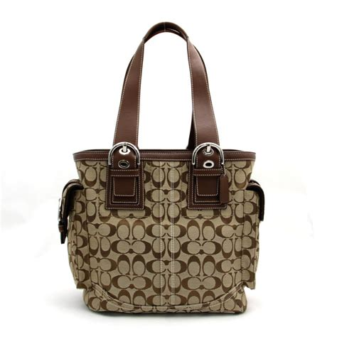 Coach Brown Tote Bag auth coach signature duffle tote bag brown canvas x