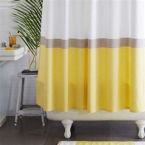horizon stripe yellow and white shower curtain