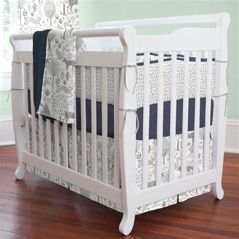 mini crib bed set navy and gray woodland 3 piece mini crib bedding set
