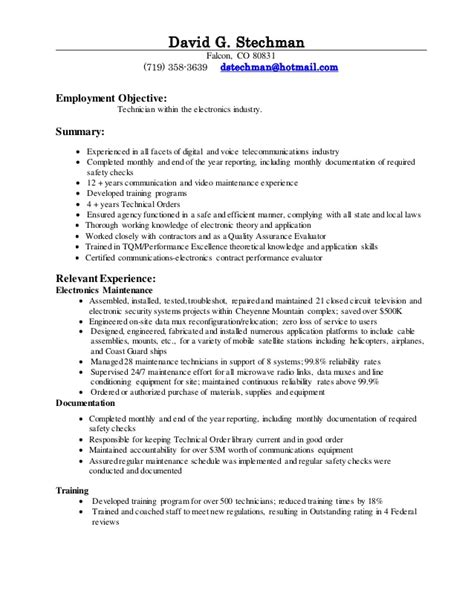 Cable Technician Resume by David G Resume 2014 Technician