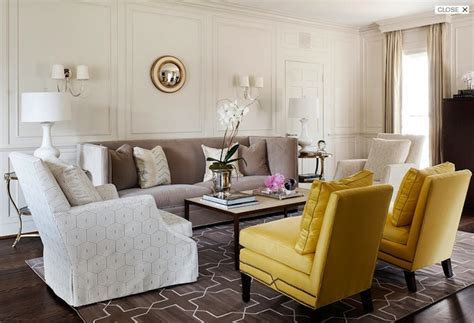 Yellow Chairs Living Room Yellow And Gray Living Room Transitional Living Room Hill Interiors