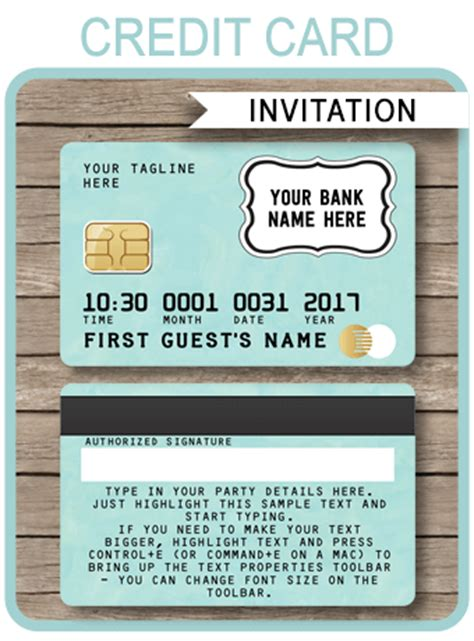 credit card template 2016 green credit card invitations mall scavenger hunt