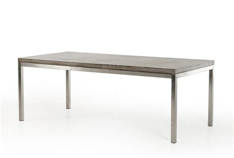 concrete chrome rectangular dining table modern