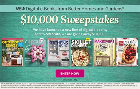 bhg sweepstakes better homes gardens new digital books 10 000 sweepstakes