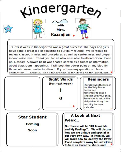 10 Sle Kindergarten Newsletter Templates Sle Templates Preschool Weekly Newsletter Template