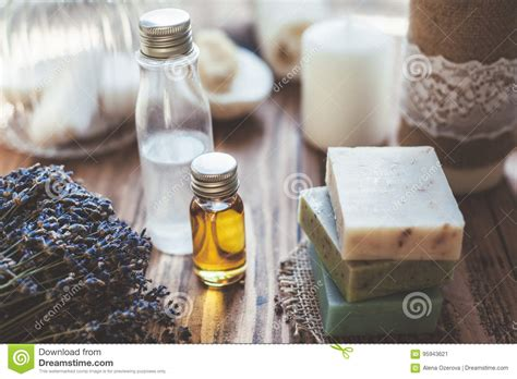 Handmade Spa Products - spa cosmetics and soap stock image image of