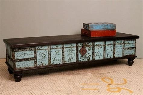 Distressed Turquoise Blue Antique Indian Wedding Trunk Distressed Turquoise Coffee Table