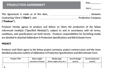 Freelance Video Managing Client Expectations Production Services Agreement Template