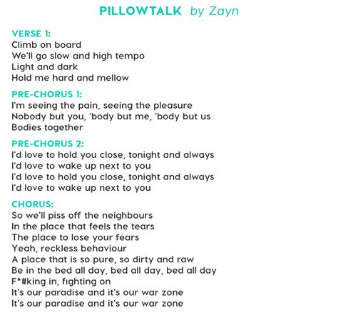 Lyrics Pillow Talk by Pillow Talk Lyrics